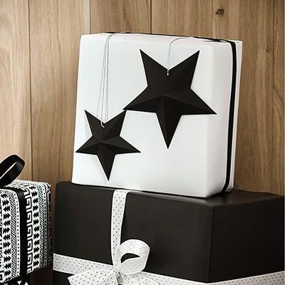DEKORACJA Papierowe Gwiazdy 6szt CZARNE