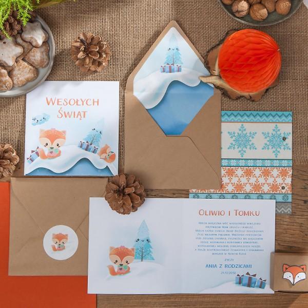 KARTKA świąteczna personalizowana Liski (+koperta z wnętrzem+naklejka)