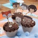 FOREMKI papilotki papierowe na muffinki Eco Zwierzaki + TOPPERY zestaw 12szt