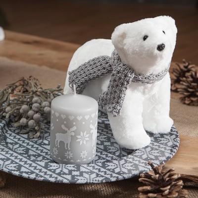 NIEDŹWIEDŹ futrzany biały dekoracja świąteczna 25x11x20cm