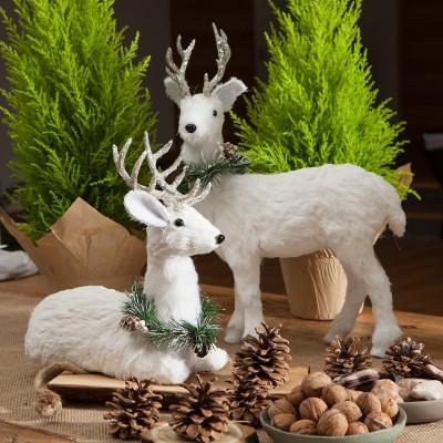 JELEŃ stojący z futerkiem dekoracja świąteczna 30x11x45cm