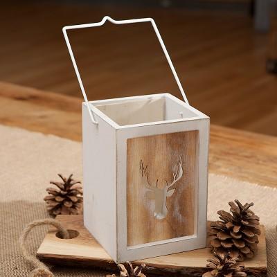 LAMPION drewniany na świecę z jeleniem Woodland 17cm