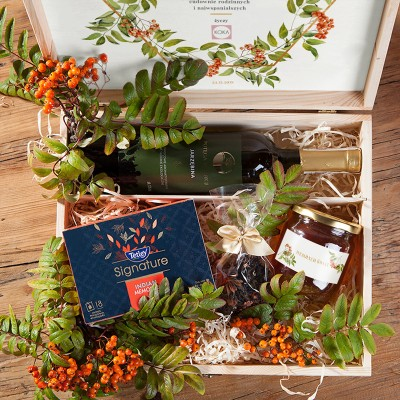 ZESTAW świąteczny w skrzyni prezent Jarzębina z miodem Z LOGO