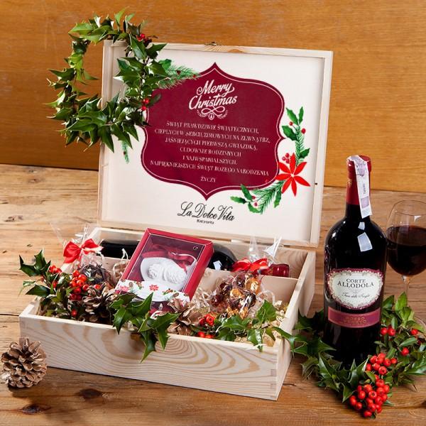 ZESTAW świąteczny w skrzyni prezent Christmas Classic Z LOGO