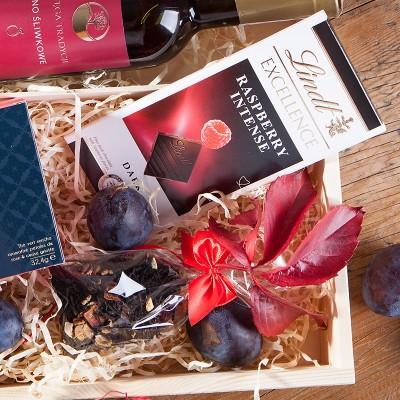 ZESTAW świąteczny w skrzyni prezent Śliwka i Malina Z LOGO