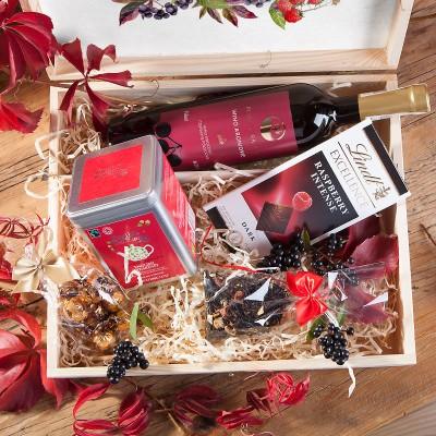 ZESTAW świąteczny w skrzyni prezent Aronia i Malina Z LOGO