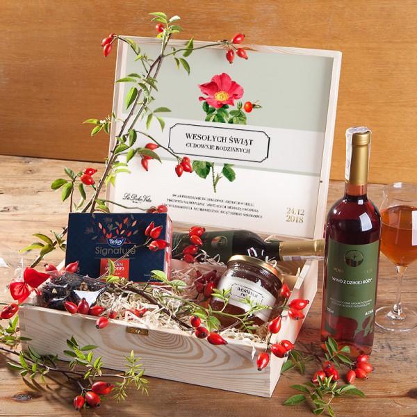 ZESTAW świąteczny w skrzyni prezent Dzika róża z miodem Z LOGO