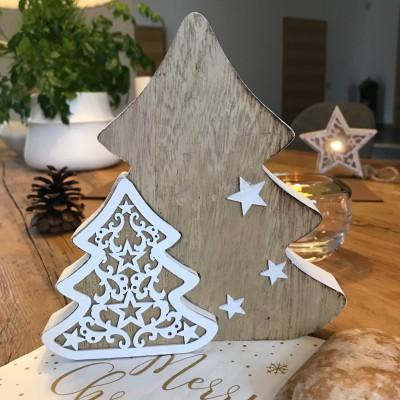 CHOINKA drewniana łączona natural+biały 16,5cm