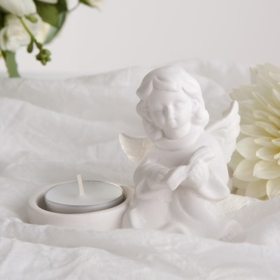 ŚWIECZNIK na tealight Biały Aniołek
