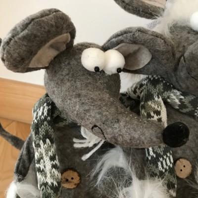 DEKORACJA świąteczne stoper drzwi Zimowe Myszy z filcu MEGA