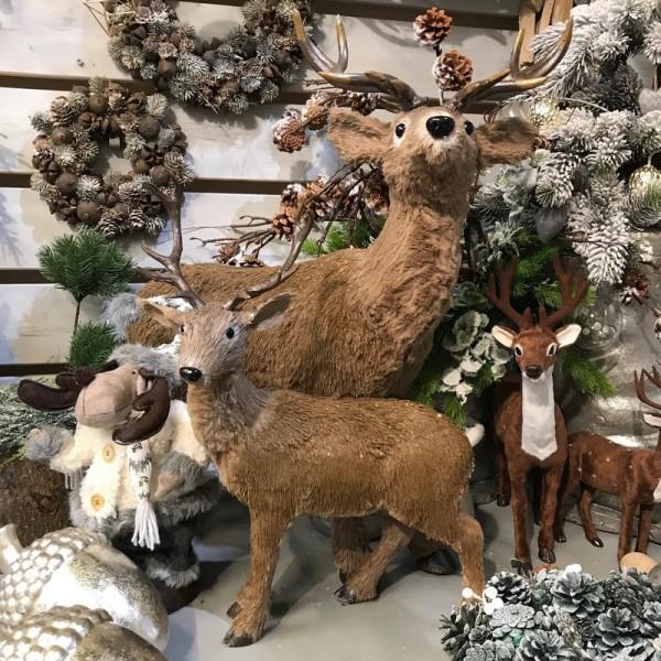 JELEŃ z brązowym futerkiem dekoracja świąteczna wys. 80cm