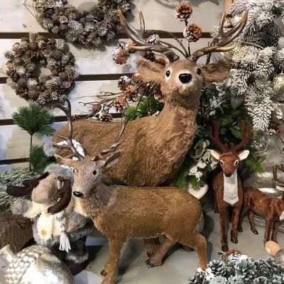 JELEŃ z brązowym futerkiem dekoracja świąteczna 50cm
