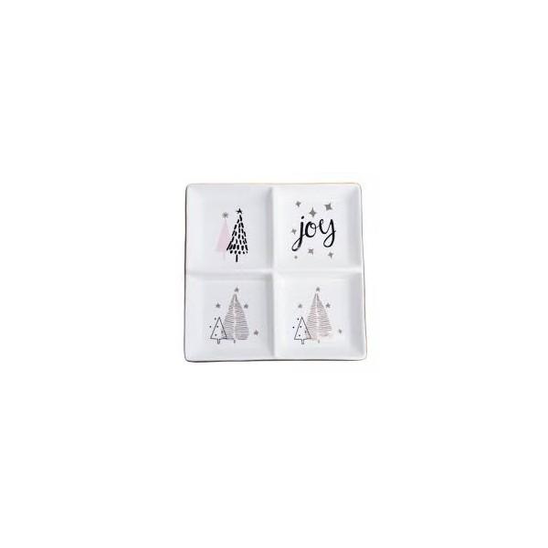 TALERZYK ceramiczny poczwórny z choinkami 20x20x3cm