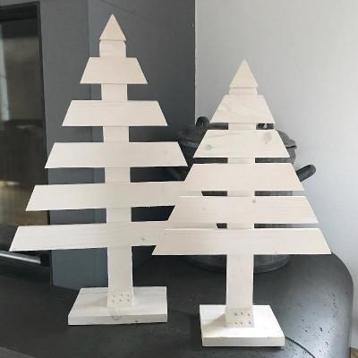 CHOINKA drewniania biała dekoracja świąteczna 52cm