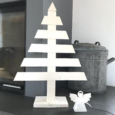 CHOINKA drewniania biała dekoracja świąteczna DUŻA 62cm