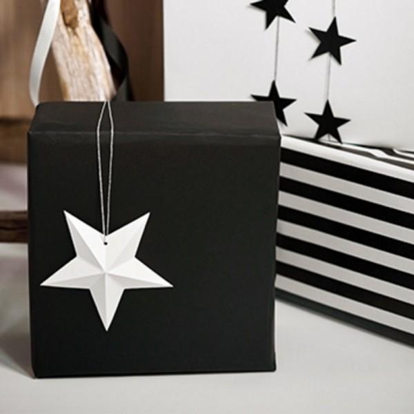 DEKORACJA Papierowe Gwiazdy 6szt BIAŁE