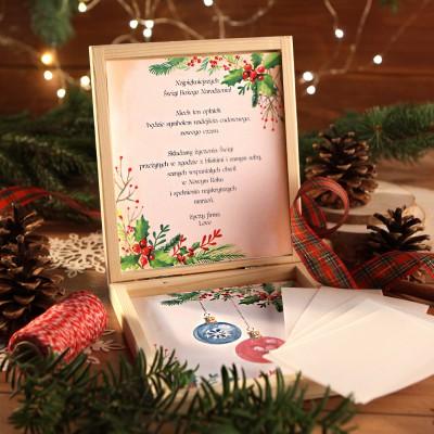 OPŁATEK wigilijny w drewnianym pudełku Magia Świąt Z LOGO 5 sztuk
