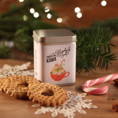 ŚWIĄTECZNA PUSZKA z kawą na prezent Z LOGO