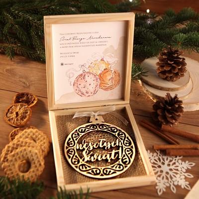 PREZENT firmowy świąteczny craft w pudełku Wesołych Świąt Z LOGO