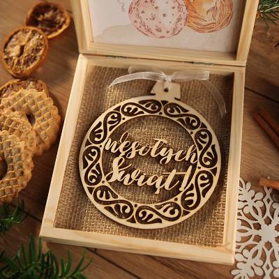 PREZENT firmowy świąteczny kraft w pudełku Wesołych Świąt Z LOGO