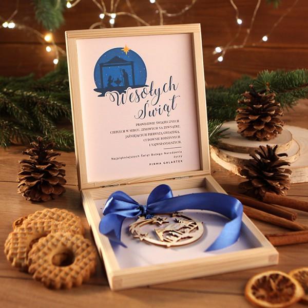 PREZENT firmowy świąteczny kraft w pudełku Święta Rodzina Z LOGO