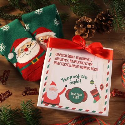 SKARPETY świąteczne na prezent firmowy Święty Mikołaj Z LOGO