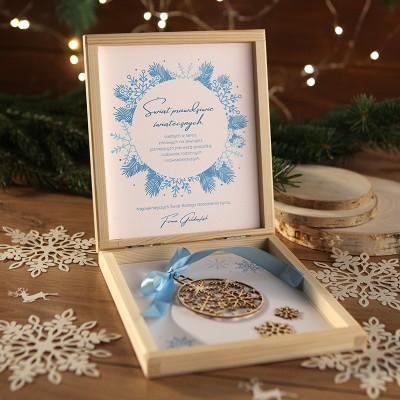 PREZENT świąteczny firmowy craft w pudełku Śnieżna Kraina Z LOGO