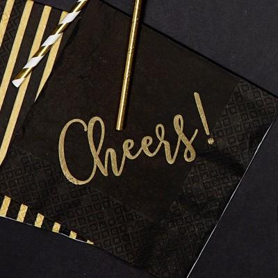 SERWETKI noworoczne czarne ze złotym Cheers 33x33cm 20szt