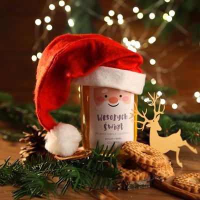 MIÓD na firmowy prezent świąteczny Mikołajowa Czapka Z LOGO 1kg