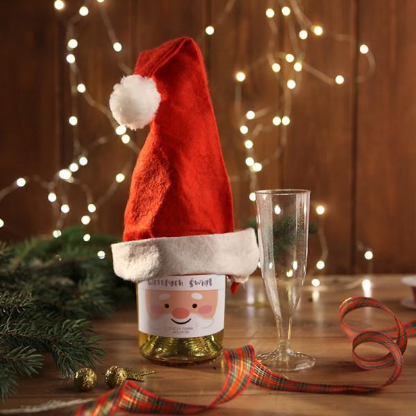 SZAMPAN/WINO MUSUJĄCE na firmowy prezent świąteczny Mikołajowa Czapka Z LOGO 750ml
