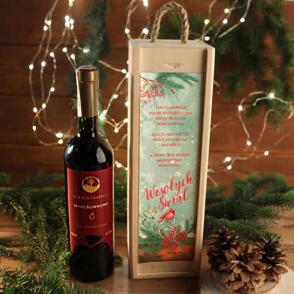 WINO 750ml śliwkowe na prezent firmowy w drewnianej skrzyni Wesołe Święta Z LOGO