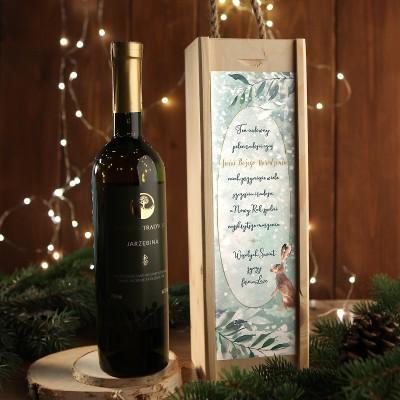 WINO 750ml jarzębinowe na prezent firmowy w drewnianej skrzyni Wykwintne Święta Z LOGO