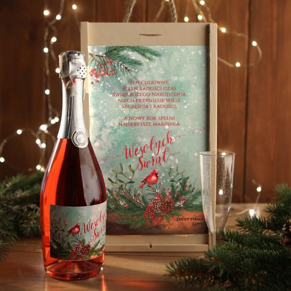 ZESTAW Z SZAMPANEM świąteczny firmowy w skrzyni z kieliszkiem Wesołe Święta Z LOGO