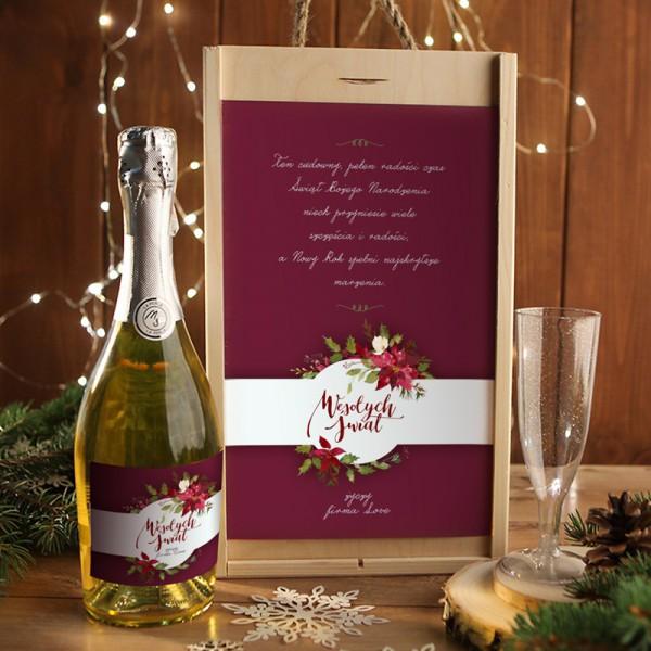 ZESTAW Z SZAMPANEM świąteczny firmowy w skrzyni z kieliszkiem Eleganckie Święta Z LOGO