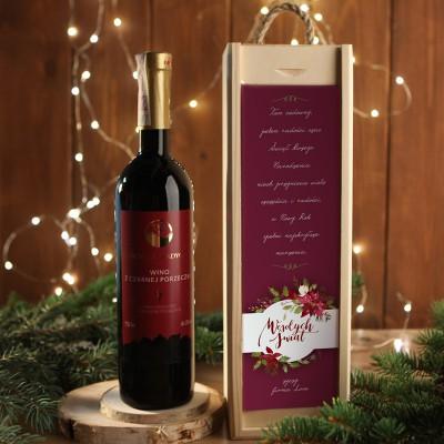 WINO W SKRZYNI 750ml z czarnej porzeczki na prezent firmowy w drewnianej skrzyni Eleganckie Święta Z LOGO