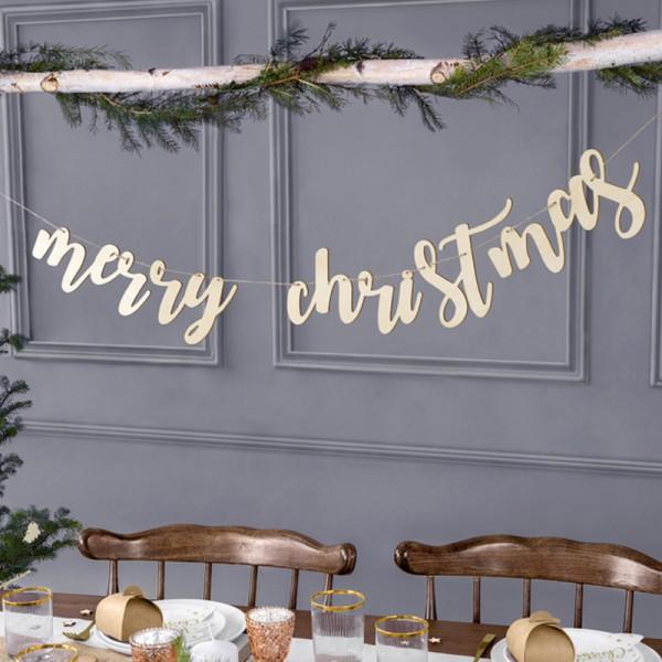 GIRLANDA świąteczne drewniana Merry Christmas 87x17cm