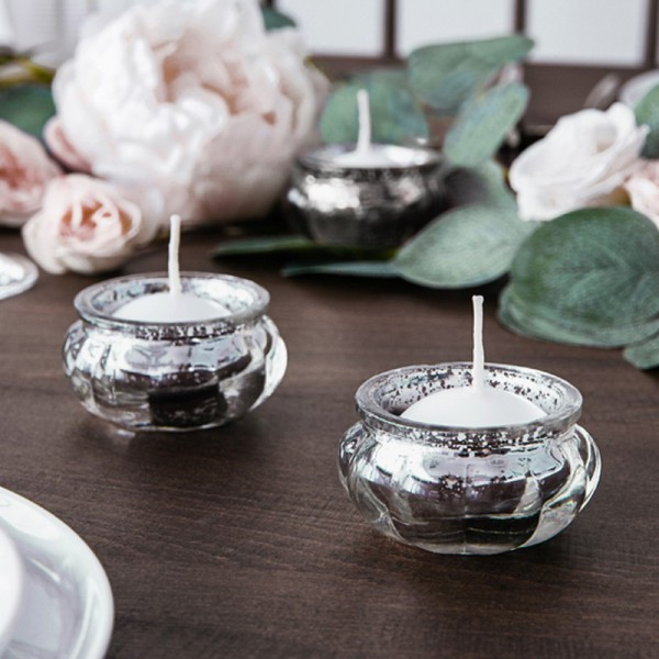 ŚWIECZNIKI na tealighty przecierane okrągłe SREBRNE 4szt