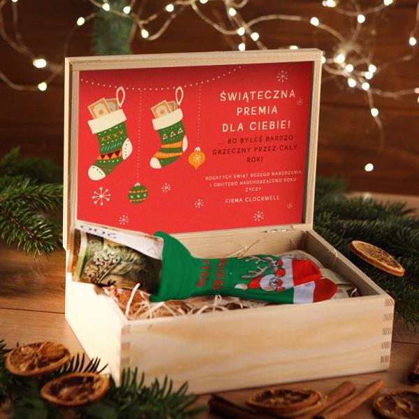 ZESTAW ŚWIĄTECZNY w skrzyni Świąteczna Premia z banknotami Z LOGO