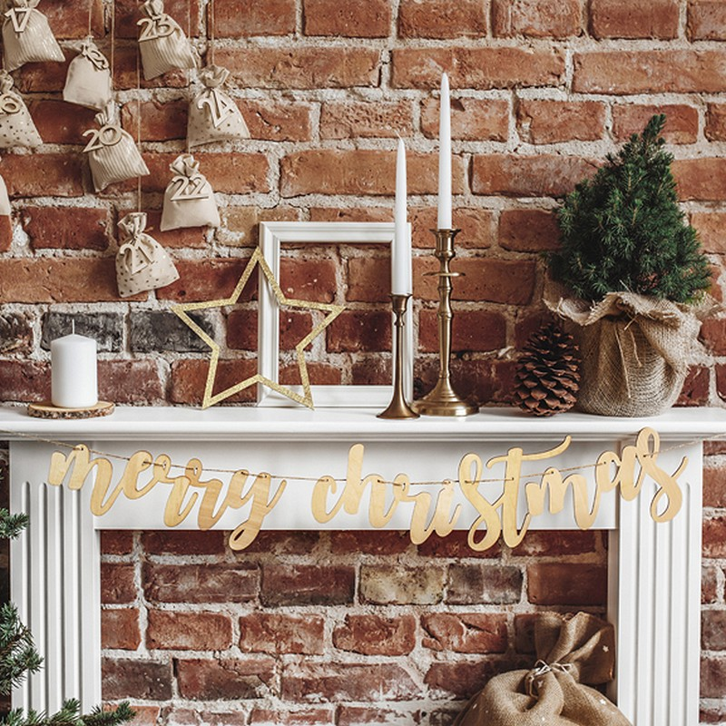 Drewniana girlanda Merry Christmas naturalna dekoracja na Boże Narodzenie