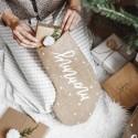 SKARPETA na prezenty świąteczne jutowa z napisem Mommy