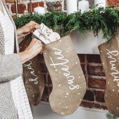 SKARPETA na prezenty świąteczne jutowa z napisem Sweets