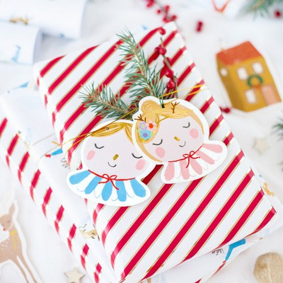 ZAWIESZKI do prezentów świątecznych Retro MIX 12szt