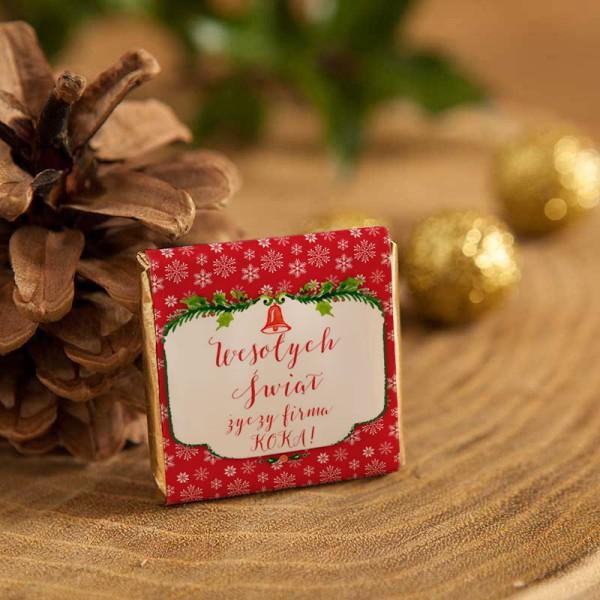 CZEKOLADKI świąteczne prezent firmowy Czerwone Święta 10szt