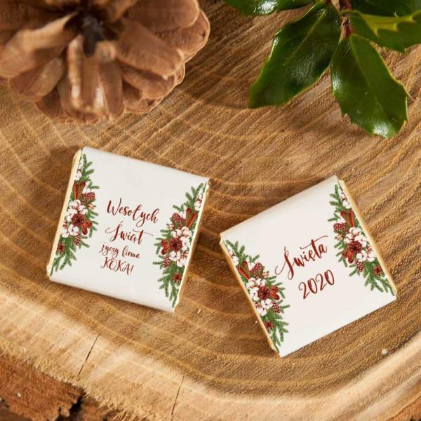 CZEKOLADKI świąteczne prezent firmowy Naturalne Święta 10szt