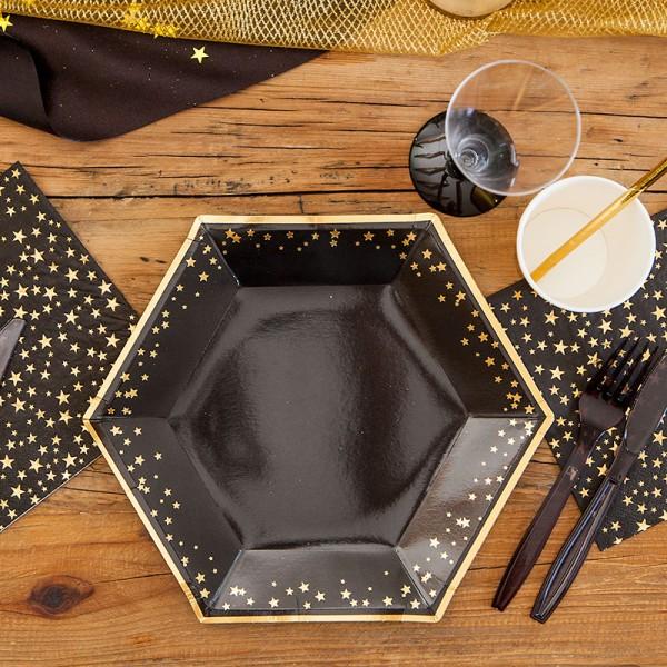 TALERZE papierowe czarne w złote gwiazdki 27cm 8szt LUX