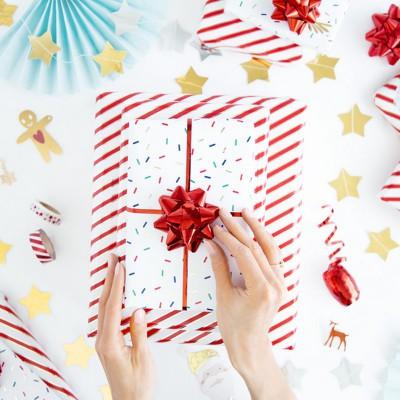 ZESTAW wstążek i rozetek do pakowania prezentów CZERWONY 3szt