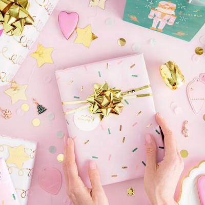 ZESTAW wstążek i rozetek do pakowania prezentów ZŁOTY 3szt