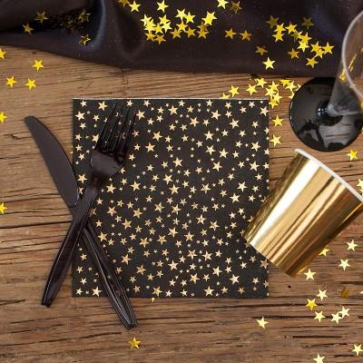 SERWETKI noworoczne czarne w złote gwiazdki 33x33cm 16szt LUX