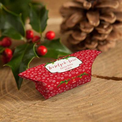 KRÓWKI świąteczne firmowe Z NAZWĄ firmy Czerwone Święta 20szt