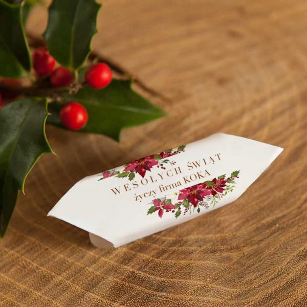 KRÓWKI świąteczne firmowe Z NAZWĄ firmy Poinsecja 20szt